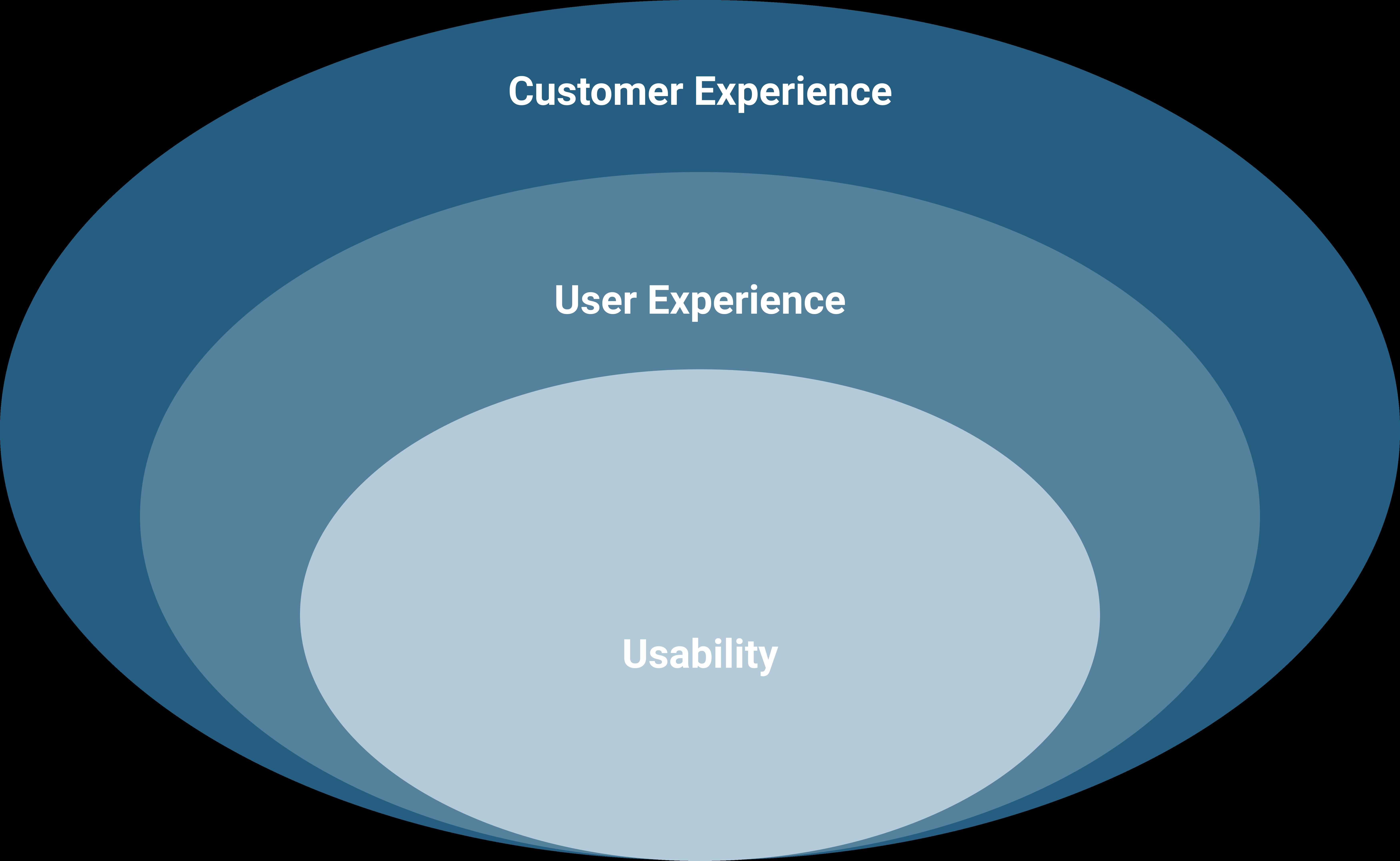 Cerchio Customer Experience che racchiude la User Experience che a sua volta racchiude la Usability