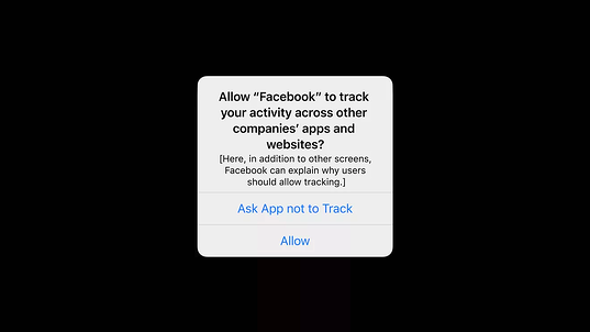 Pop up to allow Facebook to track activity across other companies' app and websites