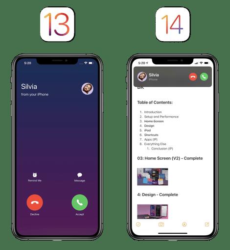 call with iOS 13 vs iOS 14